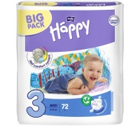 Подгузники Bella Baby Happy Размер 3 Midi 5-9 кг (72 шт)