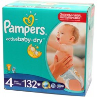 Подгузники Pampers Active Baby-Dry 4 Maxi 7-14кг (132 шт)