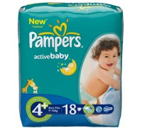 Подгузники Pampers - Active Baby Maxi Plus (9-16 кг), 18 шт.